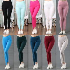 Womans Sexy Pencil Cotton Pants Slim Skinny Stretch Leggings High Waist Trousers