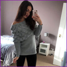 Off The Shoulder Bardot Jumper Top KnItted Mohair Womens Ladies Size New ❤