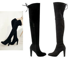 Womens Ladies Suede Over The Knee Boots Block High Heel Lace Thigh Stretch Shoes