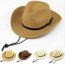 Kids Boy Sheriff Bull Rider Straw Cowboy Hat Western Montana Travel Cap Sun Hats