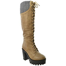 Womens Knee High Boots Lace Up Combat High Heel Shoes Taupe