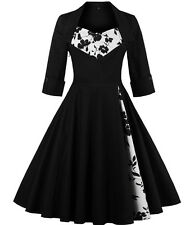 Women's Vintage Patchwork Party Pleated Swing Cocktail Dress 1950s Ball Gown