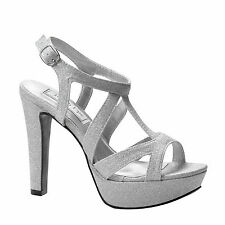 "Silver Glitter 4"" High Heel Platform Sandal Dance Sweet 16 Party Prom Shoes"