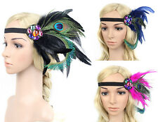 Vintage Peacock Feather Fascinators Headband Headdress Headpieces Wedding Proms