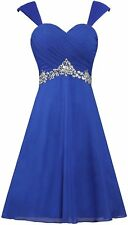 Straps Sleeveless Bridesmaid Dress Crystal Party Cocktail Homecoming Gowns WD084