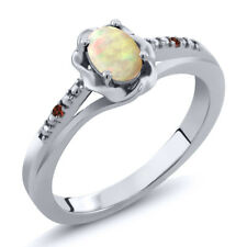 0.34 Ct Oval Cabochon White Ethiopian Opal Red Garnet 925 Sterling Silver Ring