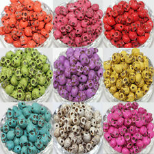 Wholesale Mixed Turquoise Skull Head Howlite Spacer Loose Beads Charms 9X7MM