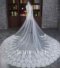2016 Long Lace Appliques Bridal Wedding Veils 3M 1T Cathedral White Ivory Custom