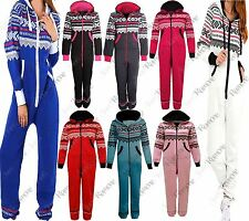 New Womens Hooded Aztec Print Zip Up Jumpsuit All In One Onesie Playsuit Pyjama