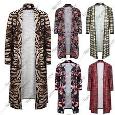 New Womens Printed Long Duster Crepe Coat Jacket Open Front Long Sleeve Cardigan