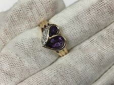 10K Yellow Gold Heart Amethyst Diamond Ring (Size 6.5) - 3.8 Grams