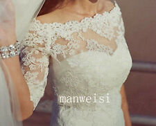 Gentle Bateau Lace Applique Wedding Jackets Bridal White Half-Sleeve Bolero Wrap