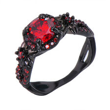 Sz 5-11 Red Ruby Engagement Band 10kt Black Gold Filled Ladys Wedding Ring Gift
