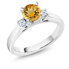 0.92 Ct Round Yellow Citrine 925 Sterling Silver 3-Stone Ring