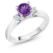 0.92 Ct Round Purple Amethyst 14K White Gold 3-Stone Ring