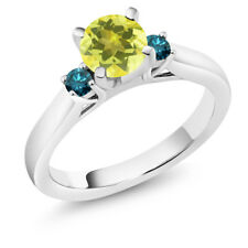 1.20 Ct Round Canary Mystic Topaz Blue Diamond 925 Sterling Silver 3-Stone Ring