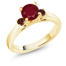 1.24 Ct Round Red Ruby Red Garnet 18K Yellow Gold Plated Silver Ring