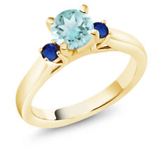 1.16 Ct Sky Blue Topaz Blue Simulated Sapphire 18K Yellow Gold 3-Stone Ring