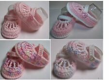 Girl Pink hand made newborn baby crochet wool strap booties size 0000 7 x 4 cm