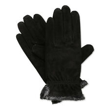 Isotoner Women's Microluxe Plush Lined Suede Leather Gloves - Black