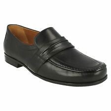 CLAUDE ASTON MENS CLARKS MOCCASIN STYLE SLIP ON SMART FORMAL WIDE LEATHER SHOES