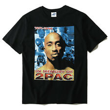 2PAC T-Shirt Hip Hop Short Sleeve Vintage Tee shirt Men Black Cotton 3D Kanye