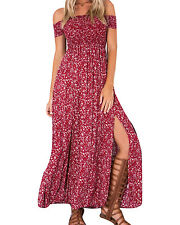 Women's Summer Sexy Off the Shoulder Boho Long Floral Slit Ankle-long Maxi Dress
