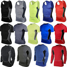 Men's Compression Under Base Layer Thermal T Shirt Gym Fitness Sports Tight Tops