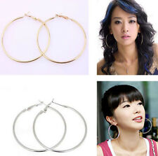 10x New Gold Silver Plated Large Round Hoop Earring Hook Finding 50mm 70mm 80mm