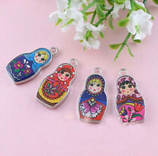 5Pcs Cute Enamel Matryoshk Russian Doll Charms Pendant Jewelry Making 27x14mm