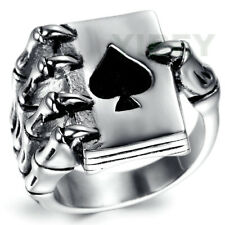 Men's Jewelry Stainless Steel Ring Lucky Ace of Spades Poker Card Skeleton Hand