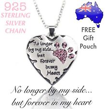 No Longer By My Side But Forever in My Heart Dog/ Cat PAW Crystal Heart Necklace