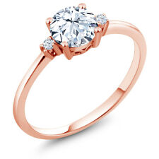 1.23 Ct Round Hearts And Arrows White Created Sapphire 10K Rose Gold Ring