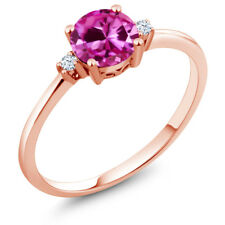 1.03 Ct Round Pink Created Sapphire White Created Sapphire 10K Rose Gold Ring