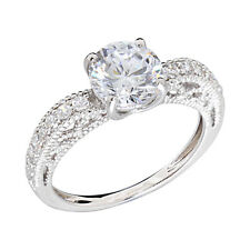 White Gold Plated Women's Wedding Band Round CZ Bridal Promise Engagement Ring