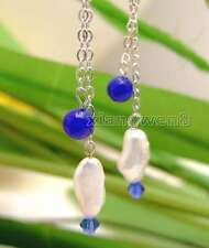 SALE 12-15mm White Natural Baroque Pearl & 6-7mm Blue Jade dangle Earring-459