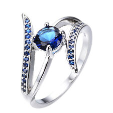 2017 Band Round Cut Blue Sapphire Ring 10KT White Gold Filled Jewelry Size6-10