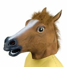 Hot Cosplay Halloween Horse Head Mask Latex Animal ZOO Party Costume Prop LU