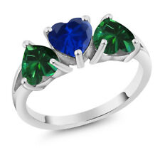 2.16 Ct Blue Simulated Sapphire & Simulated Emerald 18K White Gold 3-Stone Ring