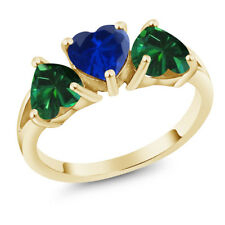 2.16 Ct Blue Simulated Sapphire & Simulated Emerald 18K Yellow Gold 3-Stone Ring