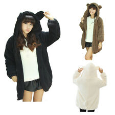 YMING Women Bear Ear Coat Hooded Elastic Cuff Cute Outwear Coat