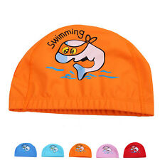 Unisex Children Cartoon Printing Swimming Swim Cap Ear Protected Flexible New