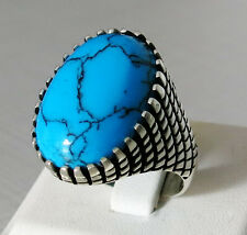 Handmade 925 Sterling Silver Natural TURQUOISE Stone Men's RING #B37