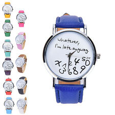 "Fashion Womens ""Whatever I'm late anyway"" Wristwatch Leather Quartz Watch GT"