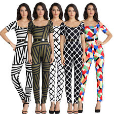 Stylish Women Short Sleeve Striped/Plaids Printed Casual Jumpsuit Romper Pants