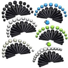24pcs Acrylic Black Taper Stretcher Set & Colorful O-Ring Plugs Gauge 10-20MM