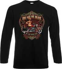 Long Sleeve T-Shirt with Harley Davidson Motorcycle print Ass Gas Or Grass