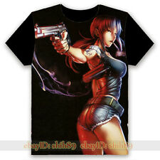 Anime BLACK LAGOON Revy Black Casual T-shirt Unisex Tee Tops Cosplay S-3XL #T65