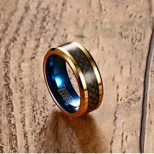 8mm Men's Jewelry Gold Tungsten Carbide Ring Carbon Fiber Wedding Band Size 7-12