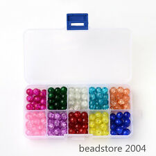 1Box Mixed Color Spray Painted Transparent Crackle Round Glass Beads 4/6/8/10mm